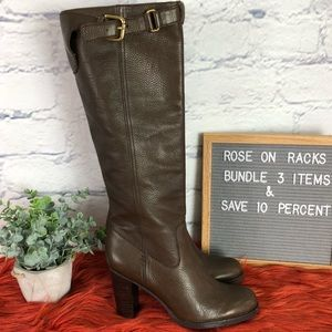 Coach Kaylie Tall Heeled Pebbled Leather Boot